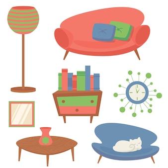Los elementos interiores del diseño de la sala de estar interior fijados con el espejo del reloj del sofá aislaron el ejemplo del vector