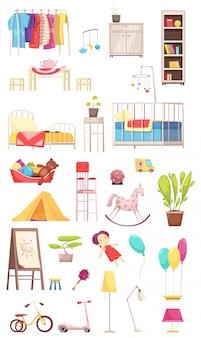 Elementos interiores de la habitación de los niños con ropa, muebles, juguetes, plantas, bicicleta y scooter.