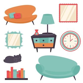Los elementos interiores interiores del diseño de la sala de estar fijaron el ejemplo aislado del vector