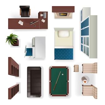 Elementos interiores modernos vista superior realista