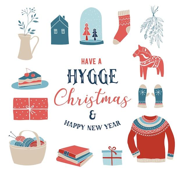 Elementos de invierno hygge y, tarjeta de feliz navidad, banner, fondo, ilustración vectorial