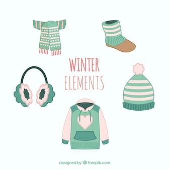 Elementos de invierno turquesa