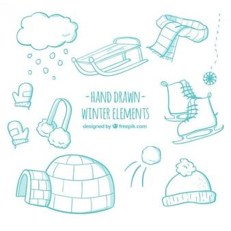 Elementos de inviernos dibujados a mano en tono turquesa