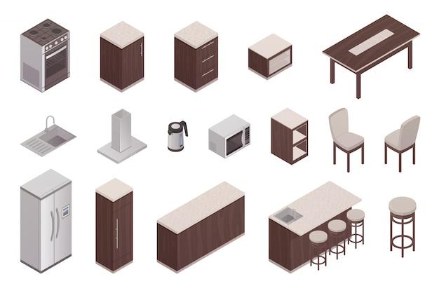Elementos isométricos aislados del interior de la cocina con refrigerador, mesa, horno, microondas, lavadora, ventil