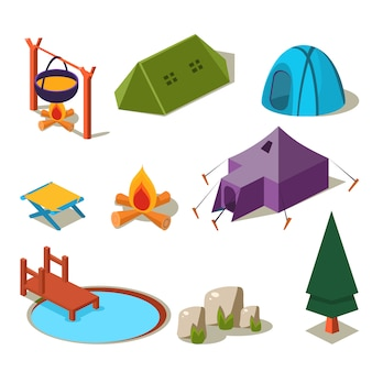 Elementos isométricos de camping de bosque 3d para diseño de paisaje