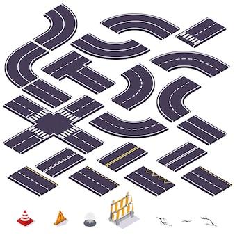 Elementos isométricos de carretera. ilustración vectorial