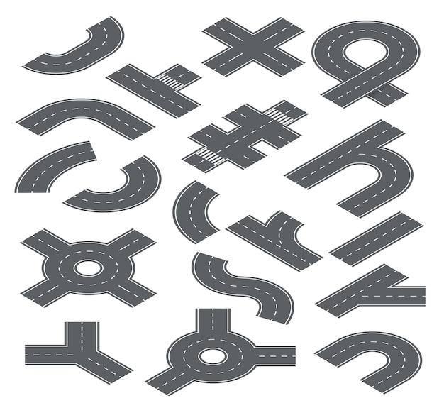 Elementos isométricos de carreteras. calles de tráfico, carreteras de automóviles y autopistas para la navegación de mapas de la ciudad conjunto de pista, cruce y acera. ilustración de la carretera, la carretera, la parte del tráfico y los segmentos.