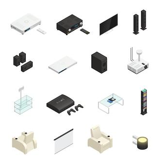 Elementos isométricos de cine en casa