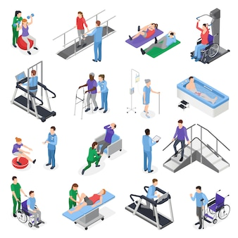 Elementos isométricos de la clínica de rehabilitación de fisioterapia con simuladores de equipos de tratamiento del personal de enfermería recuperación del paciente