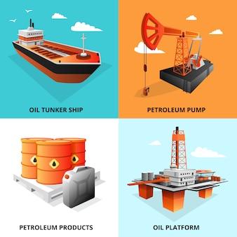 Los elementos isométricos del concepto de la industria del petróleo cuadrados con plataforma de extracción y transporte de petróleo cisterna aislados ilustración vectorial