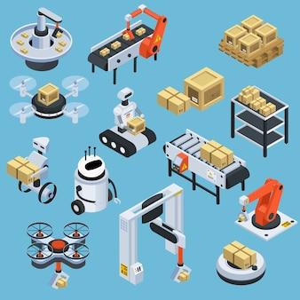 Elementos isométricos de entrega logística automática