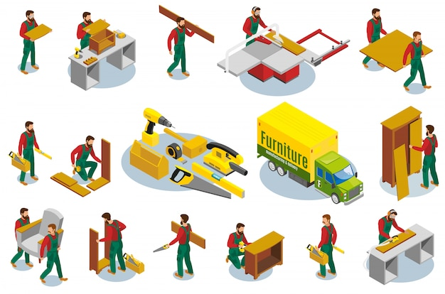 Elementos isométricos de fabricantes de muebles