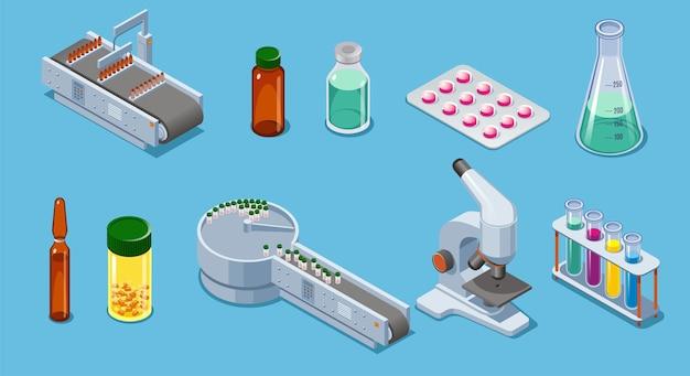 Elementos isométricos de la industria farmacéutica con equipo de embalaje pastillas medicamentos botellas tubos pipeta microscopio aislado