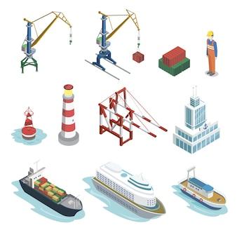Elementos isométricos de logística de envío marítimo