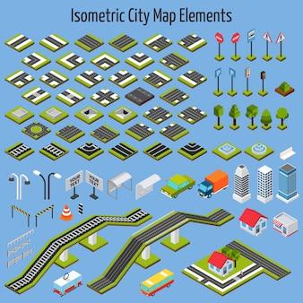 Elementos isométricos del mapa de la ciudad