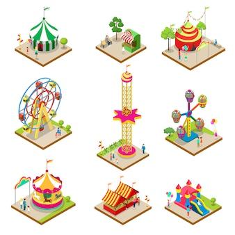 Elementos isométricos del parque de atracciones.
