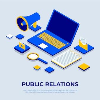Elementos isométricos de relaciones públicas.