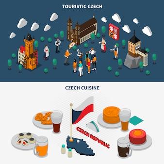 Elementos isométricos turísticos de la república checa.