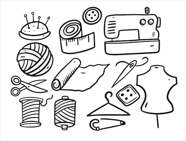 Elementos para el juego de bordados aislado en blanco