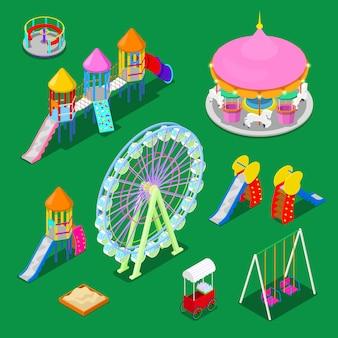 Elementos de juegos infantiles isométricos sweengs, carrusel, tobogán y caja de arena.