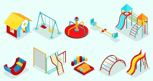 Elementos de juegos isométricos con caja de arena, columpios recreativos, carruseles, toboganes, secciones deportivas y atracciones aisladas