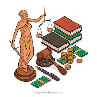 Elementos de justici dibujados a mano con vista isométrica