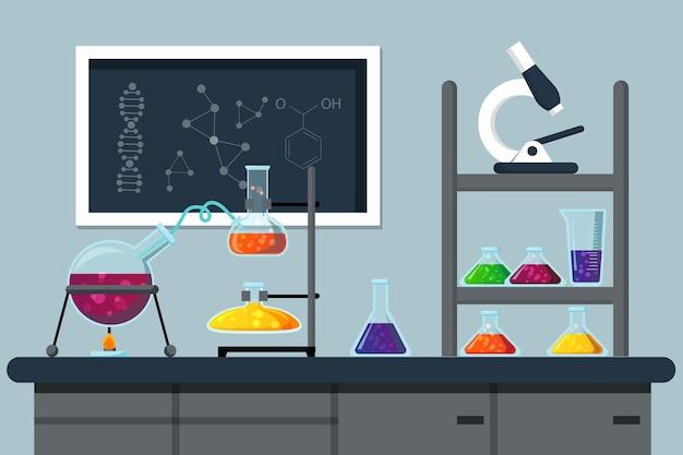Elementos de laboratorio de ciencias de estilo plano