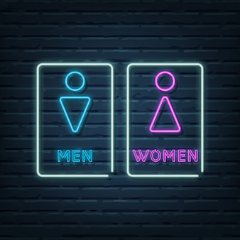 Elementos de letrero de neón de baño de hombres y mujeres.