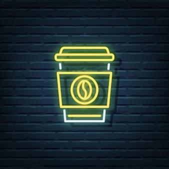 Elementos de letrero de neón de café desechable