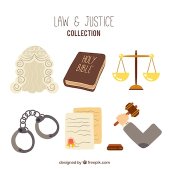 Elementos de ley y justicia dibujados a mano