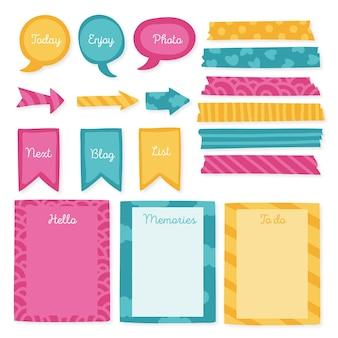 Elementos del libro de recuerdos del planificador creativo
