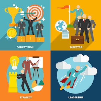 Elementos de liderazgo composición y personajes planos.