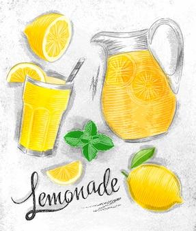 Elementos de limonada de vidrio, limón, jarra, limonada de menta.