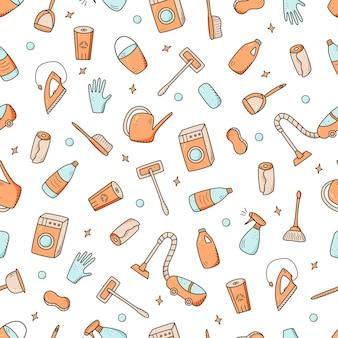 Elementos de limpieza de estilo doodle de patrones sin fisuras.