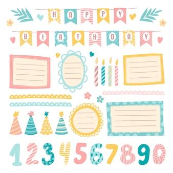 Elementos lindos del álbum de recortes de cumpleaños