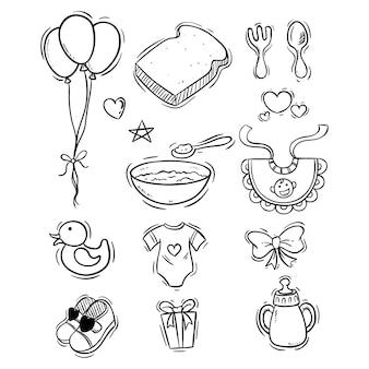 Elementos lindos del bebé con estilo boceto o doodle