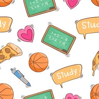 Elementos lindos de la escuela en patrones sin fisuras con estilo colorido doodle