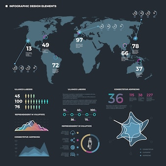 Elementos de línea fina de infografía. plantilla de infografías de negocios