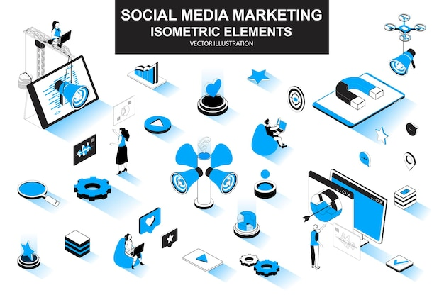 Elementos de línea isométrica 3d de marketing en redes sociales