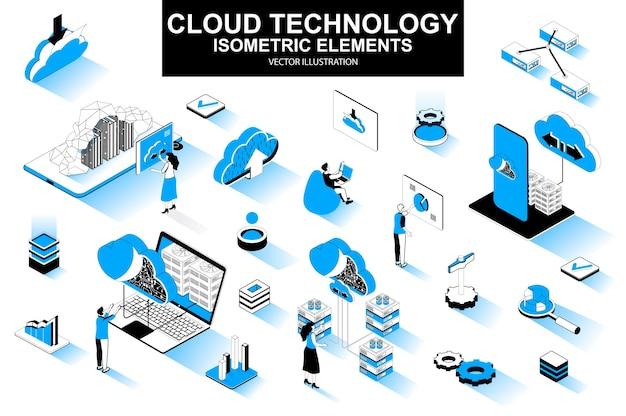 Elementos de línea isométrica 3d de tecnología de nube