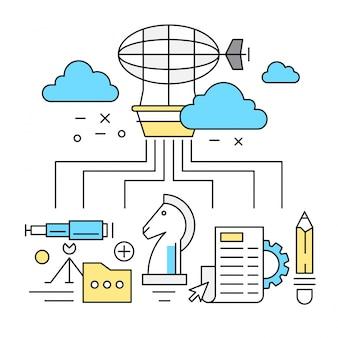 Elementos lineares de startups y de elementos empresariales