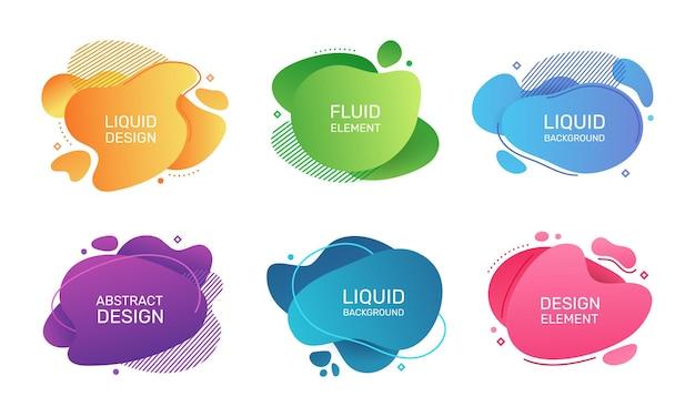 Elementos líquidos abstractos formas de burbujas de fluidos orgánicos modernas manchas de degradado gráfico de vector geométrico