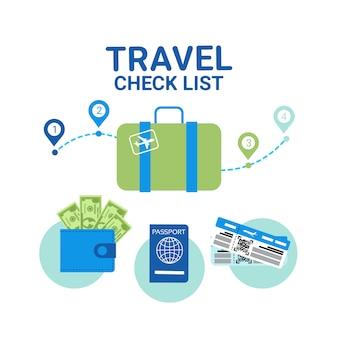 Elementos de la lista de control de viaje. concepto de planificación de vacantes