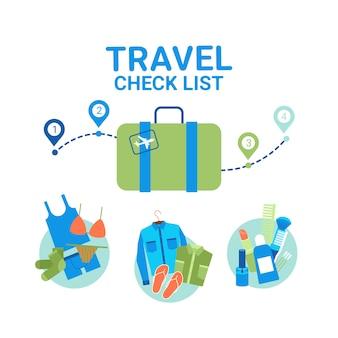 Elementos de la lista de verificación de equipaje de planificación de viajes. concepto de viaje vacante