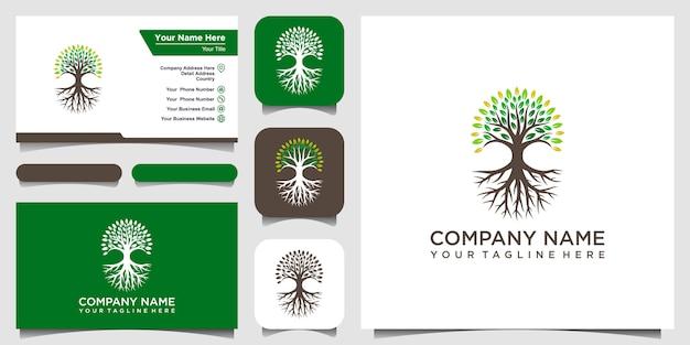 Elementos de logotipo de árbol y raíces. green garden logo template y diseño de tarjeta de visita