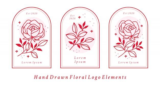 Elementos de logotipo de belleza femenina dibujados a mano con flor rosa rosa y rama de hoja para la marca