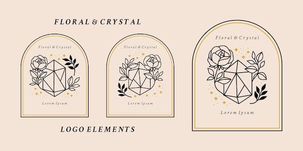 Elementos del logotipo mágico dibujados a mano con cristal, flor rosa, hoja botánica y estrellas