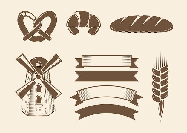 Elementos para logotipos vintage panadería vector