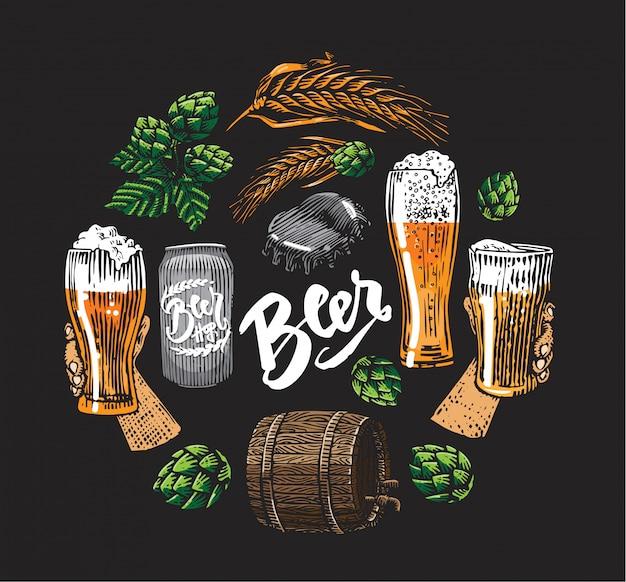 Elementos de lúpulo de cerveza en círculo