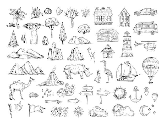 Elementos del mapa bosqueje colina y montaña, árboles y arbustos, edificios y nubes.